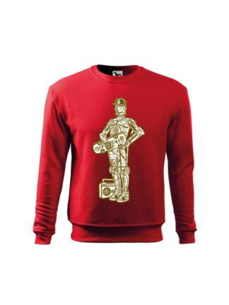 Czerwona bluza dziecięca z monochromatyczną grafiką droida, inspirowaną serią popularnych filmów sci-fi. Bluza wkładana, bez kaptura.