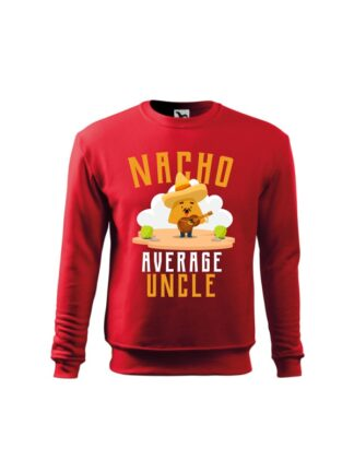 Czerwona bluza dziecięca z kolorowym, zabawnym nadrukiem człowieka-nacho z gitarą oraz napisem Nacho Average Uncle. Bluza wkładana, bez kaptura.