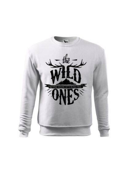 Biała bluza dziecięca ze stylizowanym napisem The Wild Ones, Nothing Wrong With Being Free. Bluza wkładana, bez kaptura.