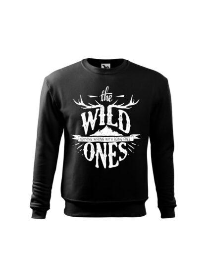 Czarna bluza dziecięca ze stylizowanym napisem The Wild Ones, Nothing Wrong With Being Free. Bluza wkładana, bez kaptura.