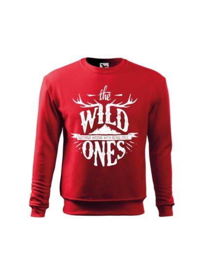 Czerwona bluza dziecięca ze stylizowanym napisem The Wild Ones, Nothing Wrong With Being Free. Bluza wkładana, bez kaptura.