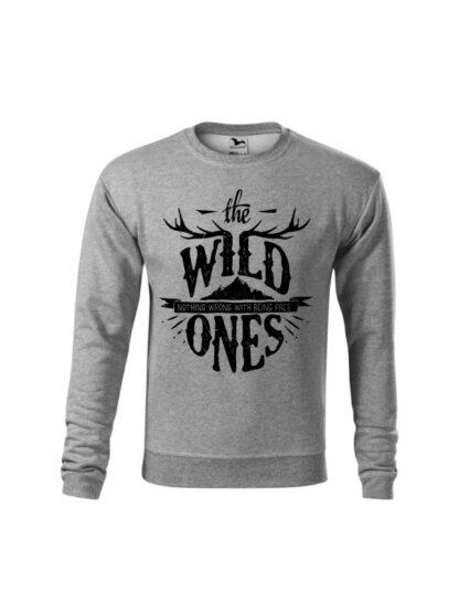 Szara bluza dziecięca ze stylizowanym napisem The Wild Ones, Nothing Wrong With Being Free. Bluza wkładana, bez kaptura.