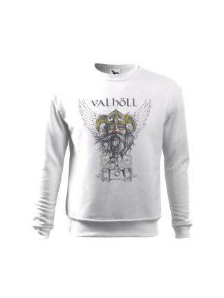 Biała bluza dziecięca z nadrukowanym wizerunkiem Odyna oraz napisem Valhöll. Bluza wkładana, bez kaptura.