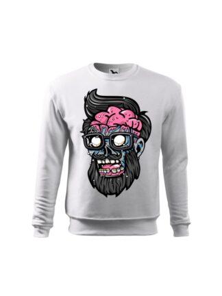 Biała bluza dziecięca z kolorową, rysunkową grafiką głowy Zombie. Bluza wkładana, bez kaptura.