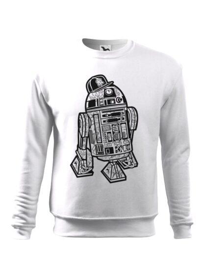 Biała bluza męska z czarno-białą grafiką droida, inspirowaną serią popularnych filmów sci-fi. Bluza wkładana, bez kaptura.