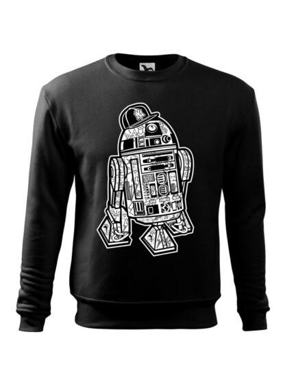 Czarna bluza męska z czarno-białą grafiką droida, inspirowaną serią popularnych filmów sci-fi. Bluza wkładana, bez kaptura.