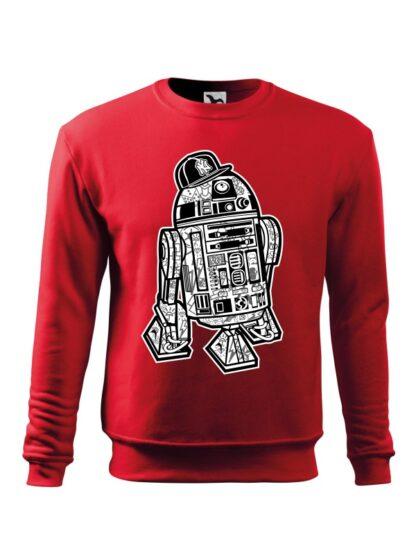 Czerwona bluza męska z czarno-białą grafiką droida, inspirowaną serią popularnych filmów sci-fi. Bluza wkładana, bez kaptura.