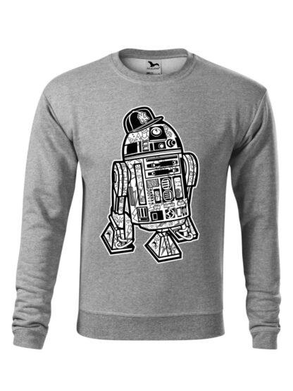 Szara bluza męska z czarno-białą grafiką droida, inspirowaną serią popularnych filmów sci-fi. Bluza wkładana, bez kaptura.