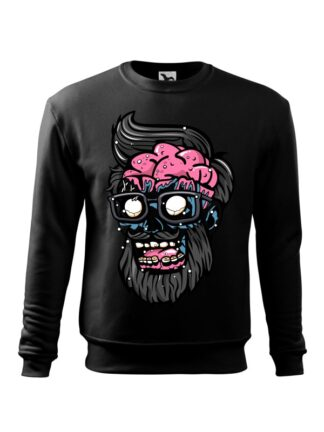 Czarna bluza męska z kolorową, rysunkową grafiką głowy Zombie. Bluza wkładana, bez kaptura.