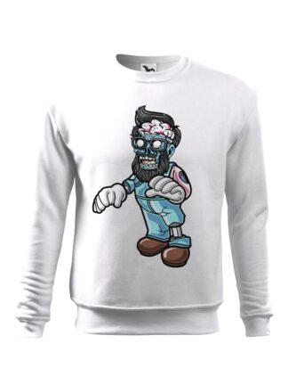 Biała bluza męska z kolorową, rysunkową grafiką zombie. Bluza wkładana, bez kaptura.