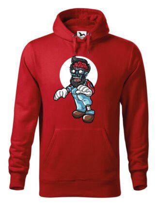 """Czerwona bluza męska z kolorową, rysunkową grafiką zombie. Bluza typu """"kangur"""" z kapturem."""