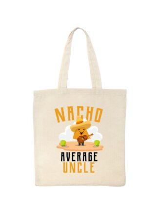 Ekologiczna ekotorba bawełniana w kolorze ecru, z kolorowym, zabawnym nadrukiem człowieka-nacho z gitarą oraz napisem Nacho Average Uncle.