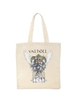 Ekologiczna ekotorba bawełniana w kolorze ecru, z nadrukowanym wizerunkiem Odyna oraz napisem Valhöll.