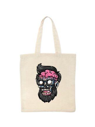 Ekologiczna ekotorba bawełniana w kolorze ecru, z kolorową, rysunkową grafiką głowy Zombie.