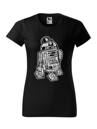 Damska koszulka z krótkim rękawem i czarno-białą grafiką droida, inspirowaną serią popularnych filmów sci-fi. Koszulka o kroju klasycznym, w kolorze czarnym.
