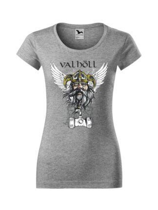 Koszulka damska z krótkim rękawem i nadrukowanym wizerunkiem Odyna oraz napisem Valhöll. Koszulka o kroju slim-fit z dekoltem, w kolorze szarym.