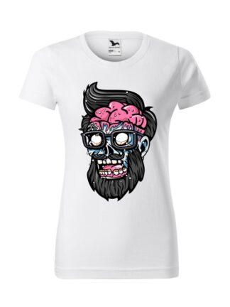 Damska koszulka z krótkim rękawem i kolorową, rysunkową grafiką głowy Zombie. Koszulka o kroju klasycznym, w kolorze białym.
