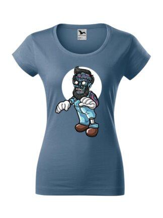Damska koszulka z krótkim rękawem i kolorową, rysunkową grafiką zombie. Koszulka o kroju slim-fit z dekoltem, w kolorze jeans.