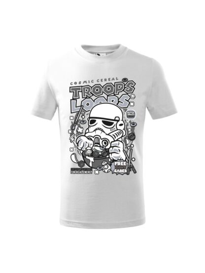 Dziecięca koszulka z krótkim rękawem i czarno-białym nadrukiem płatków śniadaniowych Cosmic Cereal, nawiązujących do popularnej serii filmów sci-fi. Koszulka biała.