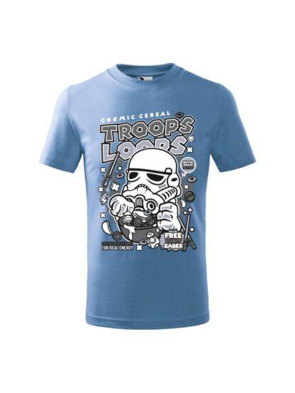 Dziecięca koszulka z krótkim rękawem i czarno-białym nadrukiem płatków śniadaniowych Cosmic Cereal, nawiązujących do popularnej serii filmów sci-fi. Koszulka błękitna.
