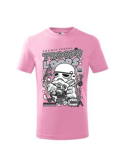 Dziecięca koszulka z krótkim rękawem i czarno-białym nadrukiem płatków śniadaniowych Cosmic Cereal, nawiązujących do popularnej serii filmów sci-fi. Koszulka różowa.