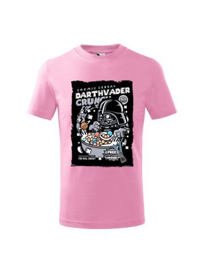 Dziecięca koszulka z krótkim rękawem i kolorowym nadrukiem płatków śniadaniowych Cosmic Cereal, nawiązujących do popularnej serii filmów sci-fi. Koszulka różowa.