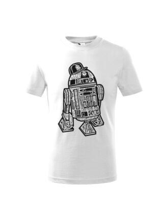 Dziecięca koszulka z krótkim rękawem i czarno-białą grafiką droida, inspirowaną serią popularnych filmów sci-fi. Koszulka biała.