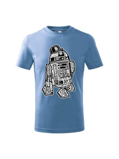 Dziecięca koszulka z krótkim rękawem i czarno-białą grafiką droida, inspirowaną serią popularnych filmów sci-fi. Koszulka błękitna.