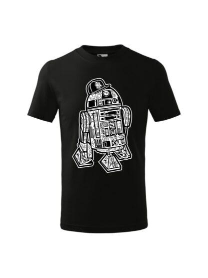 Dziecięca koszulka z krótkim rękawem i czarno-białą grafiką droida, inspirowaną serią popularnych filmów sci-fi. Koszulka czarna.
