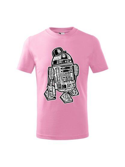 Dziecięca koszulka z krótkim rękawem i czarno-białą grafiką droida, inspirowaną serią popularnych filmów sci-fi. Koszulka różowa.