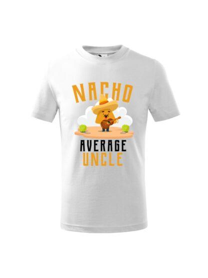 Dziecięca koszulka z krótkim rękawem i kolorowym, zabawnym nadrukiem człowieka-nacho z gitarą oraz napisem Nacho Average Uncle. Koszulka biała.