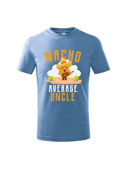 Dziecięca koszulka z krótkim rękawem i kolorowym, zabawnym nadrukiem człowieka-nacho z gitarą oraz napisem Nacho Average Uncle. Koszulka błękitna.