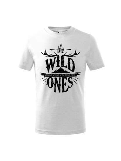 Dziecięca koszulka z krótkim rękawem i stylizowanym napisem The Wild Ones, Nothing Wrong With Being Free. Koszulka biała.