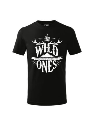 Dziecięca koszulka z krótkim rękawem i stylizowanym napisem The Wild Ones, Nothing Wrong With Being Free. Koszulka czarna.