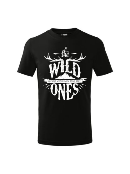Dziecięca koszulka z krótkim rękawem i stylizowanym napisem The Wild Ones, Nothing Wrong With Being Free. Koszulka czarna.