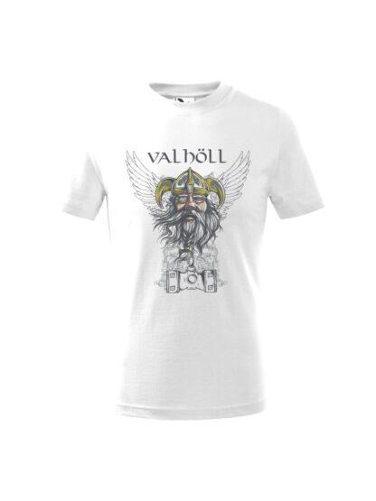 Biała koszulka dziecięca z krótkim rękawem. Nadrukowany wizerunek Odyna oraz napis Valhöll.