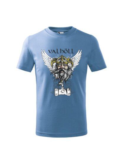 Błękitna koszulka dziecięca z krótkim rękawem. Nadrukowany wizerunek Odyna oraz napis Valhöll.