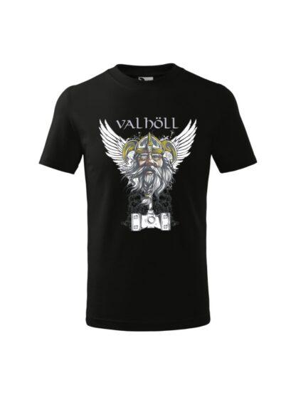 Czarna koszulka dziecięca z krótkim rękawem. Nadrukowany wizerunek Odyna oraz napis Valhöll.