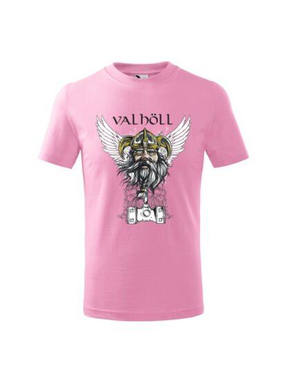 Różowa koszulka dziecięca z krótkim rękawem. Nadrukowany wizerunek Odyna oraz napis Valhöll.
