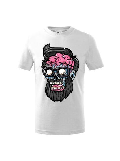 Dziecięca koszulka z krótkim rękawem i kolorową, rysunkową grafiką głowy Zombie. Koszulka biała.