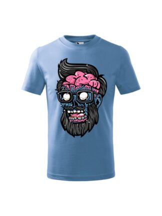 Dziecięca koszulka z krótkim rękawem i kolorową, rysunkową grafiką głowy Zombie. Koszulka błękitna.