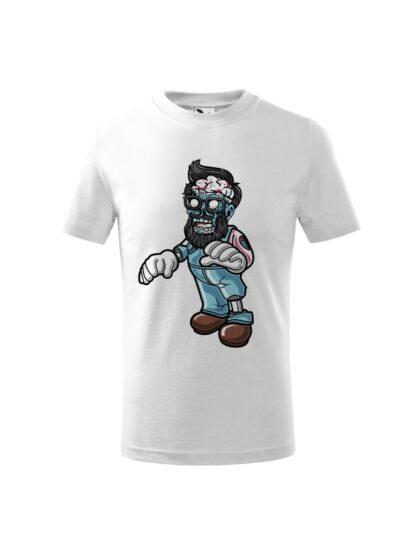 Dziecięca koszulka z krótkim rękawem i kolorową, rysunkową grafiką zombie. Koszulka biała.