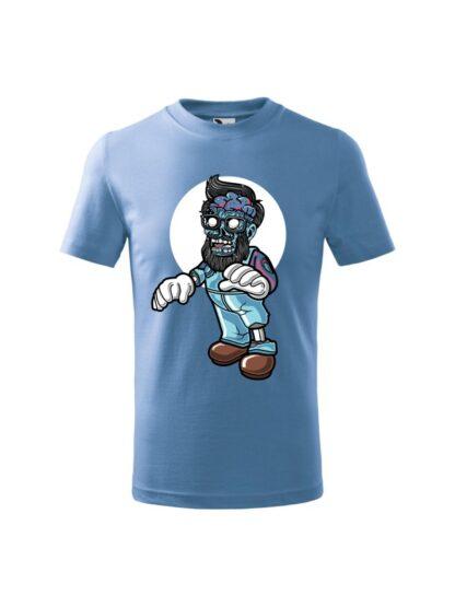 Dziecięca koszulka z krótkim rękawem i kolorową, rysunkową grafiką zombie. Koszulka błękitna.