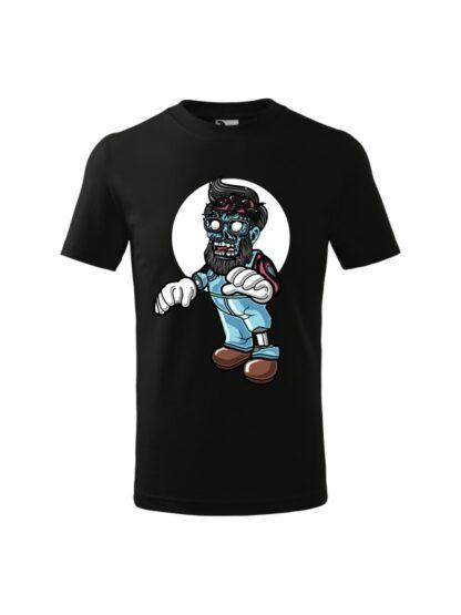Dziecięca koszulka z krótkim rękawem i kolorową, rysunkową grafiką zombie. Koszulka czarna.