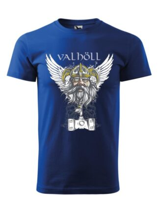 Niebieska koszulka męska z krótkim rękawem. Nadrukowany wizerunek Odyna oraz napis Valhöll.