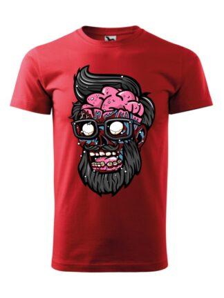 Męska koszulka z krótkim rękawem i kolorową, rysunkową grafiką głowy Zombie. Koszulka czerwona.
