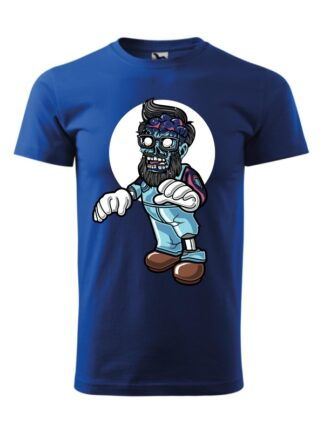 Męska koszulka z krótkim rękawem i kolorową, rysunkową grafiką zombie. Koszulka niebieska.