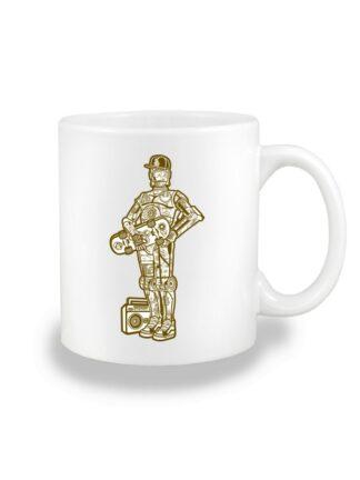 Biały kubek ceramiczny z monochromatyczną grafiką droida, inspirowaną serią popularnych filmów sci-fi. Nadruk dwustronny.