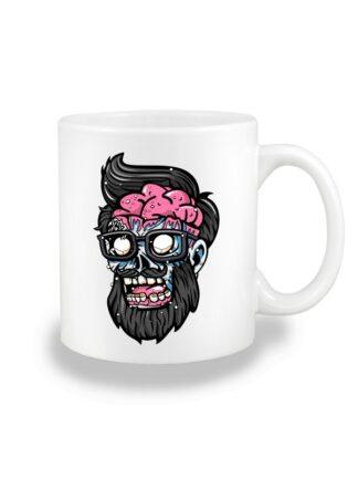 Biały kubek ceramiczny z kolorową, rysunkową grafiką głowy Zombie. Nadruk dwustronny.