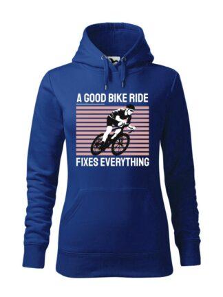 """Niebieska, wkładana bluza damska typu """"kangur"""", z kolorowym nadrukiem kolarza szosowego oraz napis A Good Bike Ride Fixes Everything."""